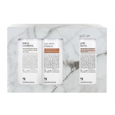 Trio shakes : nuts about choco, milk & cookies, caffé latte
